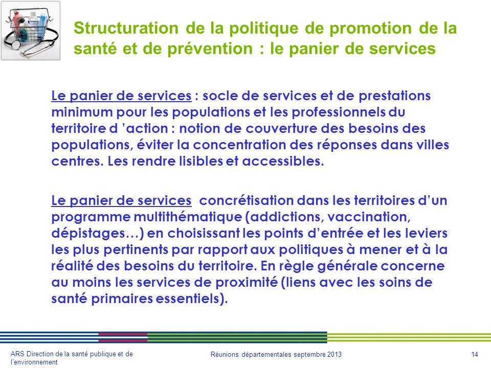 14 ARS Direction de la santé publique et de lenvironnement Réunions départementales septembre 2013 Structuration de la politique de promotion de la sa