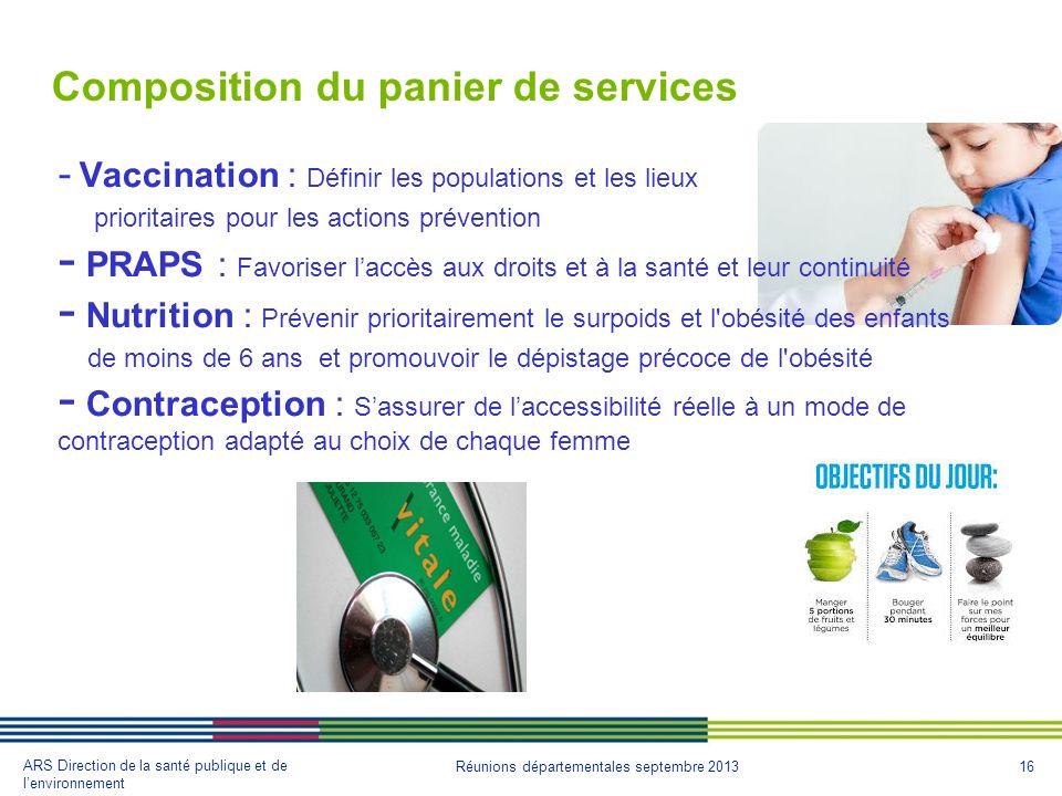 16 ARS Direction de la santé publique et de lenvironnement Réunions départementales septembre 2013 1. Composition du panier de services - Vaccination