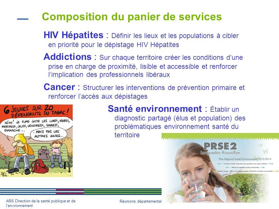 18 ARS Direction de la santé publique et de lenvironnement Réunions départementales septembre 2013 Composition du panier de services HIV Hépatites : D