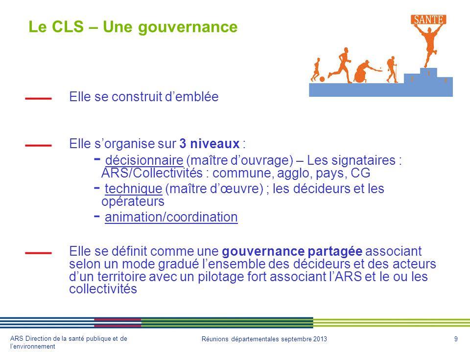 9 ARS Direction de la santé publique et de lenvironnement Réunions départementales septembre 2013 Le CLS – Une gouvernance Elle se construit demblée E