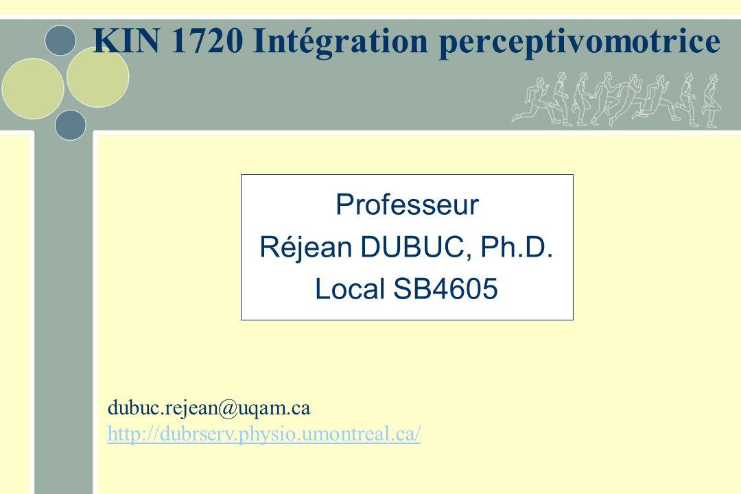 KIN 1720 Intégration perceptivomotrice Professeur Réjean DUBUC, Ph.D. Local SB4605 dubuc.rejean@uqam.ca http://dubrserv.physio.umontreal.ca/