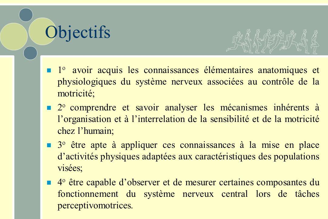 Objectifs n 1 o avoir acquis les connaissances élémentaires anatomiques et physiologiques du système nerveux associées au contrôle de la motricité; n