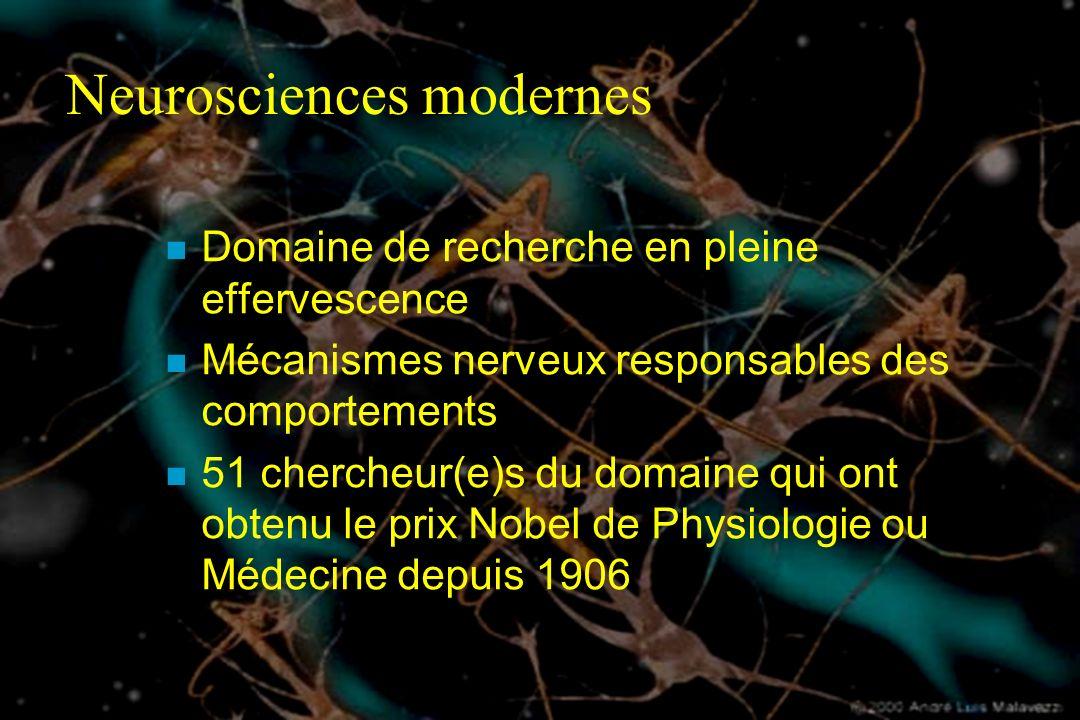 Neurosciences modernes n Domaine de recherche en pleine effervescence n Mécanismes nerveux responsables des comportements n 51 chercheur(e)s du domain