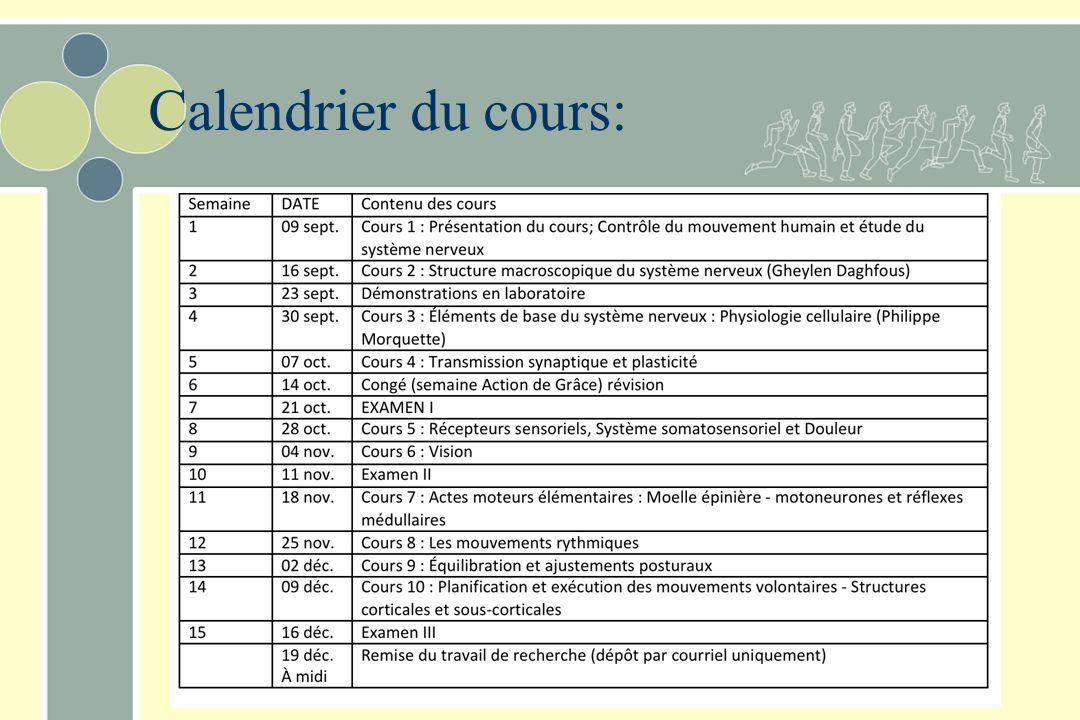 Calendrier du cours: