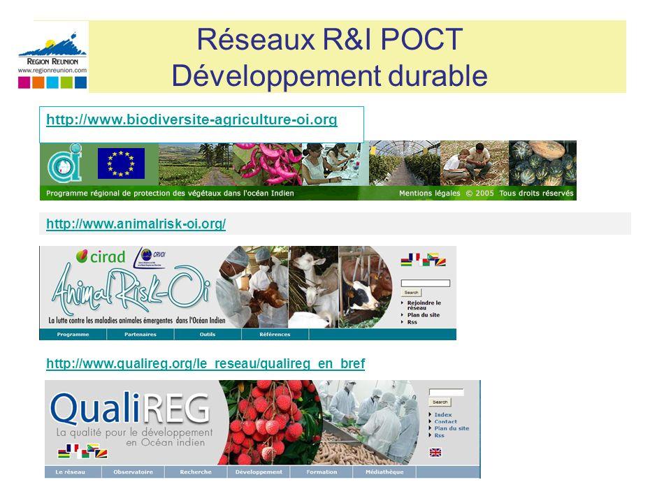 Réseaux R&I POCT Développement durable http://www.animalrisk-oi.org/ http://www.qualireg.org/le_reseau/qualireg_en_bref http://www.biodiversite-agricu