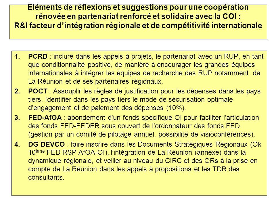 Eléments de réflexions et suggestions pour une coopération rénovée en partenariat renforcé et solidaire avec la COI : R&I facteur dintégration régiona