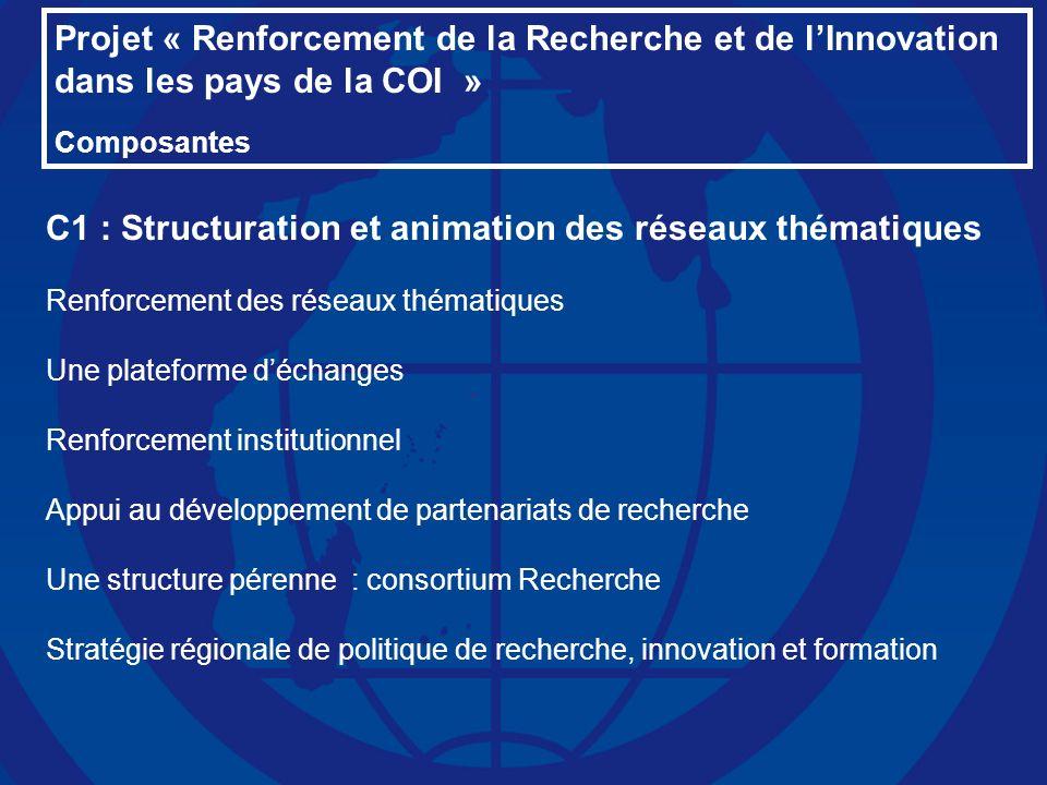 Projet « Renforcement de la Recherche et de lInnovation dans les pays de la COI » Composantes C1 : Structuration et animation des réseaux thématiques