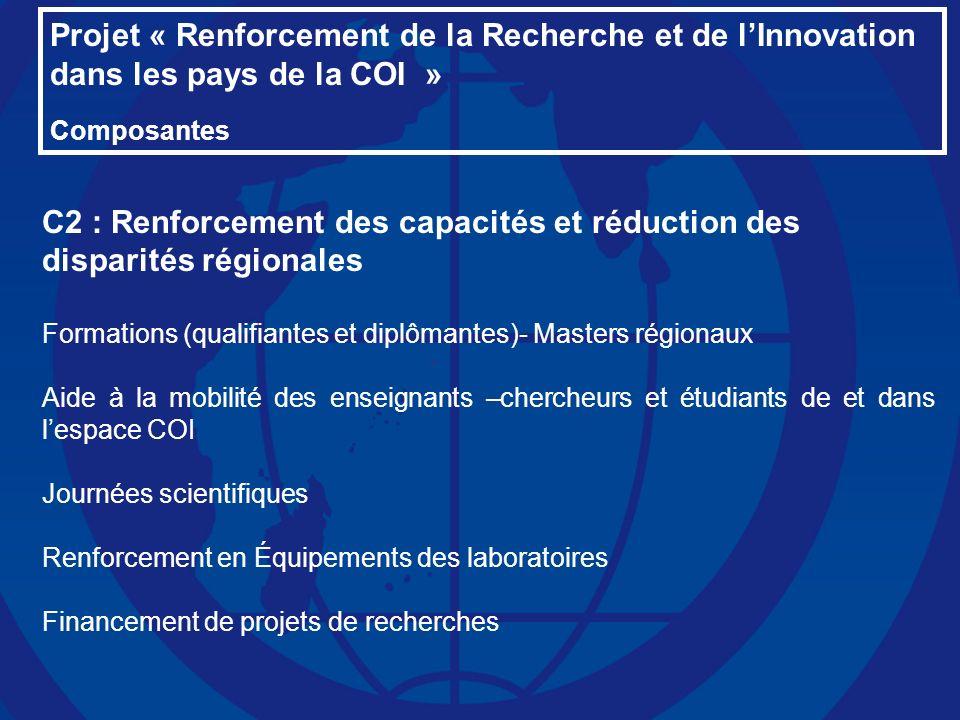 Projet « Renforcement de la Recherche et de lInnovation dans les pays de la COI » Composantes C2 : Renforcement des capacités et réduction des dispari