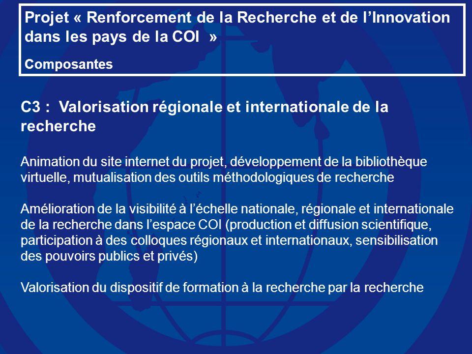 Projet « Renforcement de la Recherche et de lInnovation dans les pays de la COI » Composantes C3 : Valorisation régionale et internationale de la rech