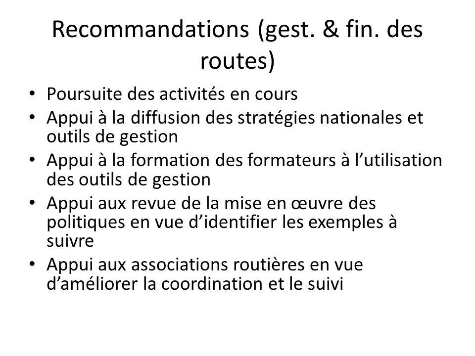 Recommandations (gest. & fin.