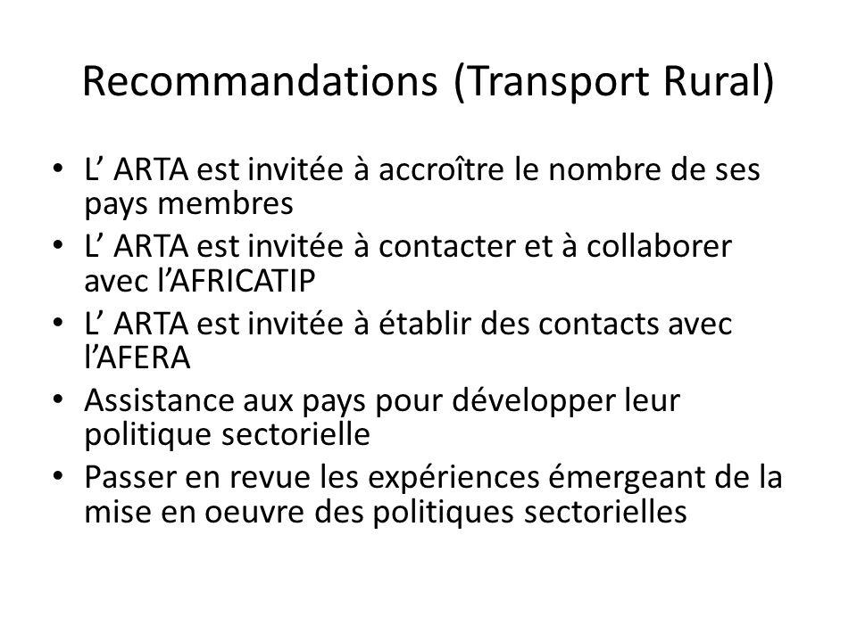 Recommandations (Transport Rural) L ARTA est invitée à accroître le nombre de ses pays membres L ARTA est invitée à contacter et à collaborer avec lAFRICATIP L ARTA est invitée à établir des contacts avec lAFERA Assistance aux pays pour développer leur politique sectorielle Passer en revue les expériences émergeant de la mise en oeuvre des politiques sectorielles