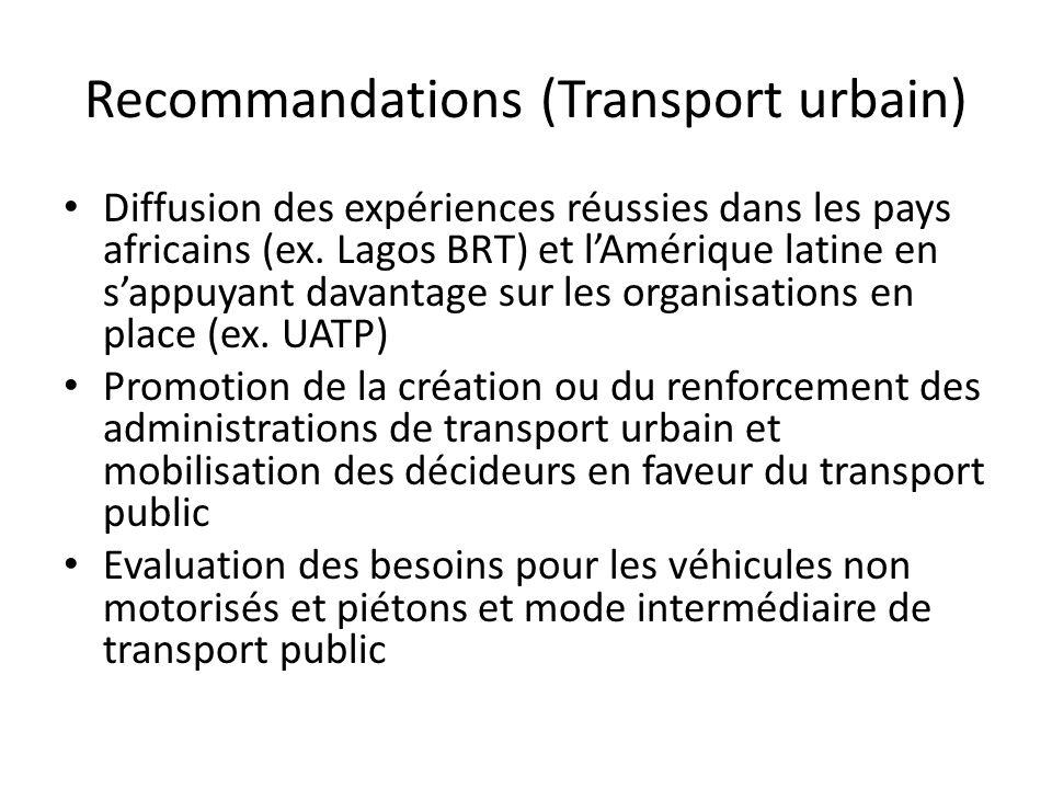 Recommandations (Transport urbain) Diffusion des expériences réussies dans les pays africains (ex.