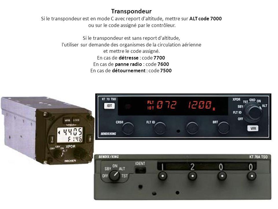 7 0 0 0 Procédure pour le changement de code du transpondeur 5 6 0 2 A la fin du vol noubliez pas darrêter votre transpondeur