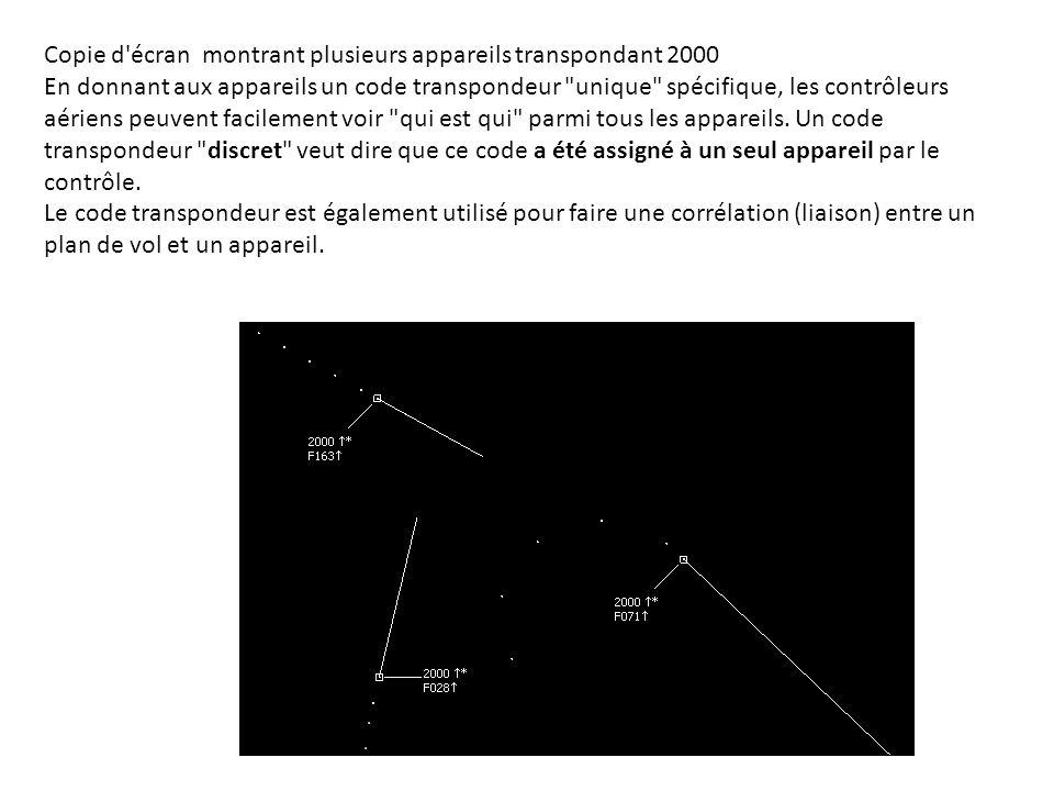 Si un pilote a rempli un plan de Vol et reçu un code transpondeur unique, les données du plan de vol tel que l indicatif de l appareil, son type et sa classe de turbulence de sillage sont affichés dans l étiquette de l avion sur l écran de contrôle