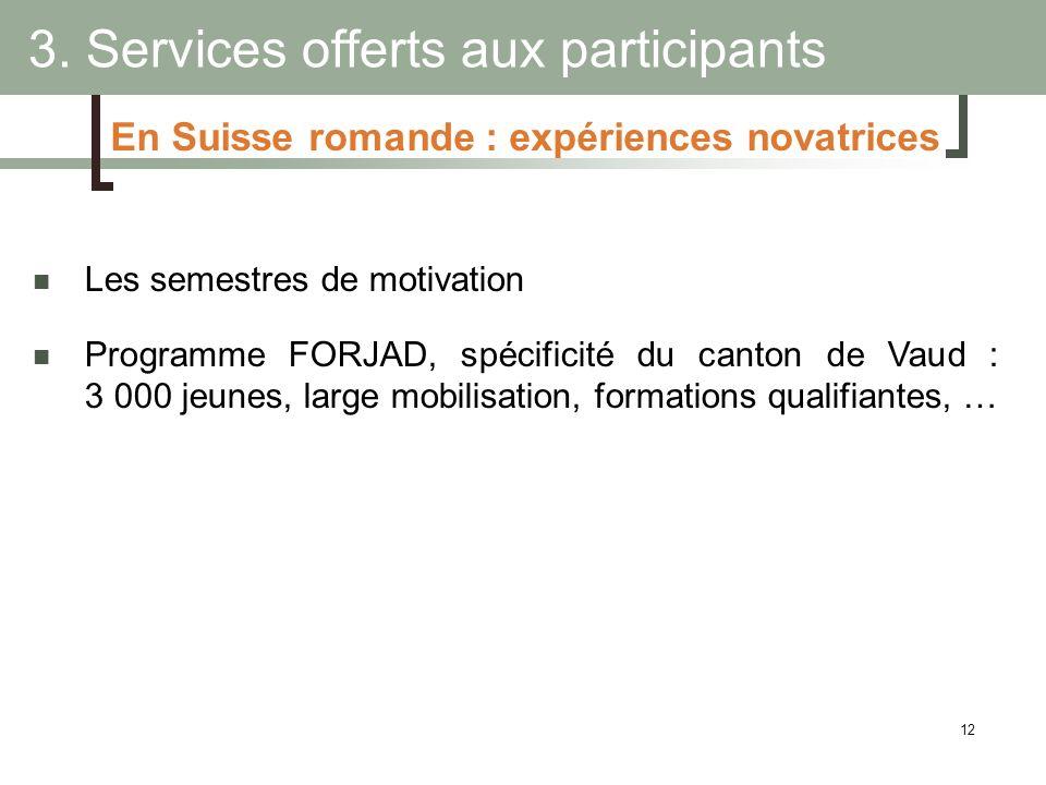 12 3. Services offerts aux participants Les semestres de motivation Programme FORJAD, spécificité du canton de Vaud : 3 000 jeunes, large mobilisation