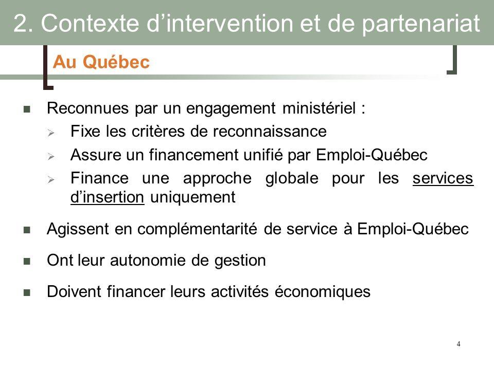 4 Au Québec Reconnues par un engagement ministériel : Fixe les critères de reconnaissance Assure un financement unifié par Emploi-Québec Finance une a