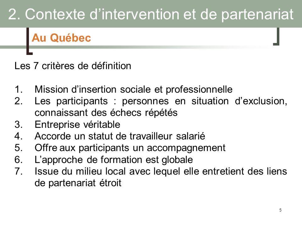 5 Au Québec Les 7 critères de définition 1.Mission dinsertion sociale et professionnelle 2.Les participants : personnes en situation dexclusion, conna