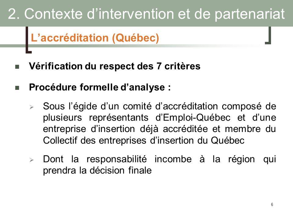 6 Laccréditation (Québec) Vérification du respect des 7 critères Procédure formelle danalyse : Sous légide dun comité daccréditation composé de plusie