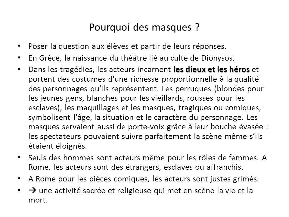 Pourquoi des masques ? Poser la question aux élèves et partir de leurs réponses. En Grèce, la naissance du théâtre lié au culte de Dionysos. les dieux