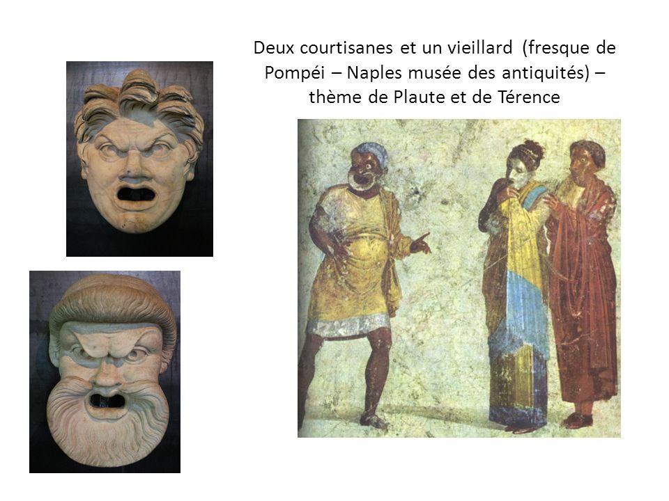 Deux courtisanes et un vieillard (fresque de Pompéi – Naples musée des antiquités) – thème de Plaute et de Térence
