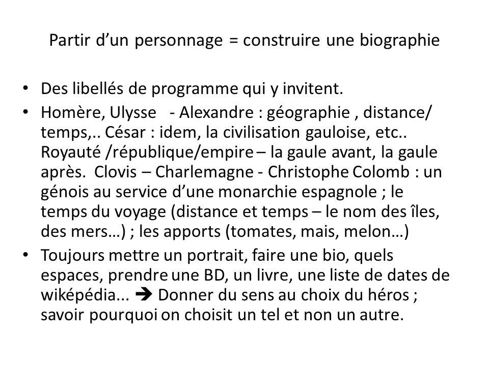 Partir dun personnage = construire une biographie Des libellés de programme qui y invitent. Homère, Ulysse - Alexandre : géographie, distance/ temps,.