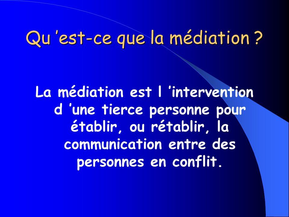 Qu est-ce que la médiation ? La médiation est l intervention d une tierce personne pour établir, ou rétablir, la communication entre des personnes en
