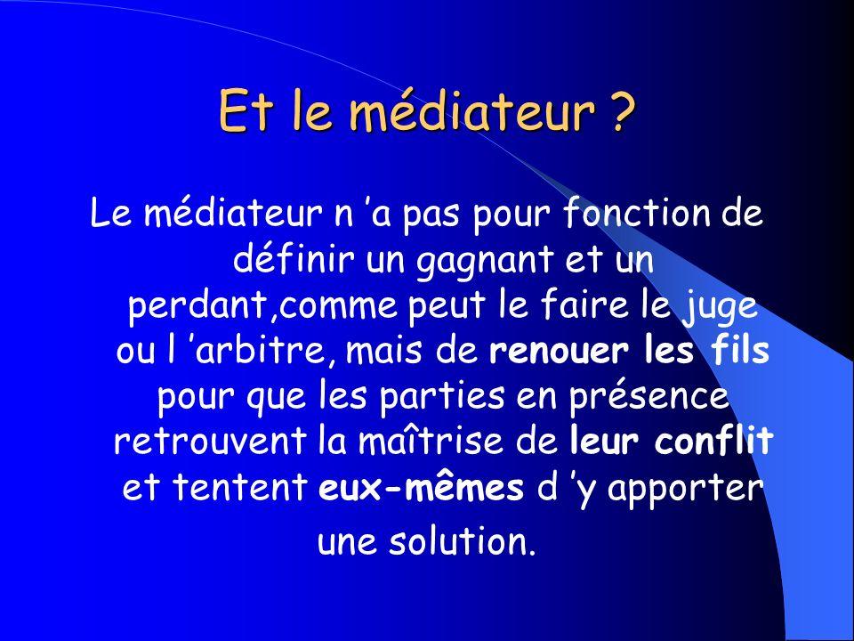 Et le médiateur ? Le médiateur n a pas pour fonction de définir un gagnant et un perdant,comme peut le faire le juge ou l arbitre, mais de renouer les