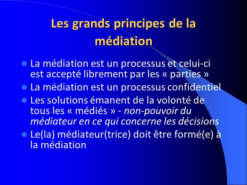Les grands principes de la médiation La médiation est un processus et celui-ci est accepté librement par les « parties » La médiation est un processus