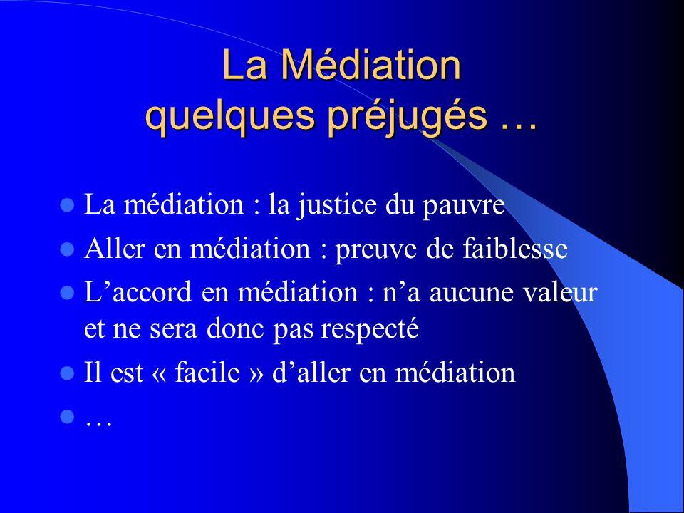 La Médiation quelques préjugés … La médiation : la justice du pauvre Aller en médiation : preuve de faiblesse Laccord en médiation : na aucune valeur