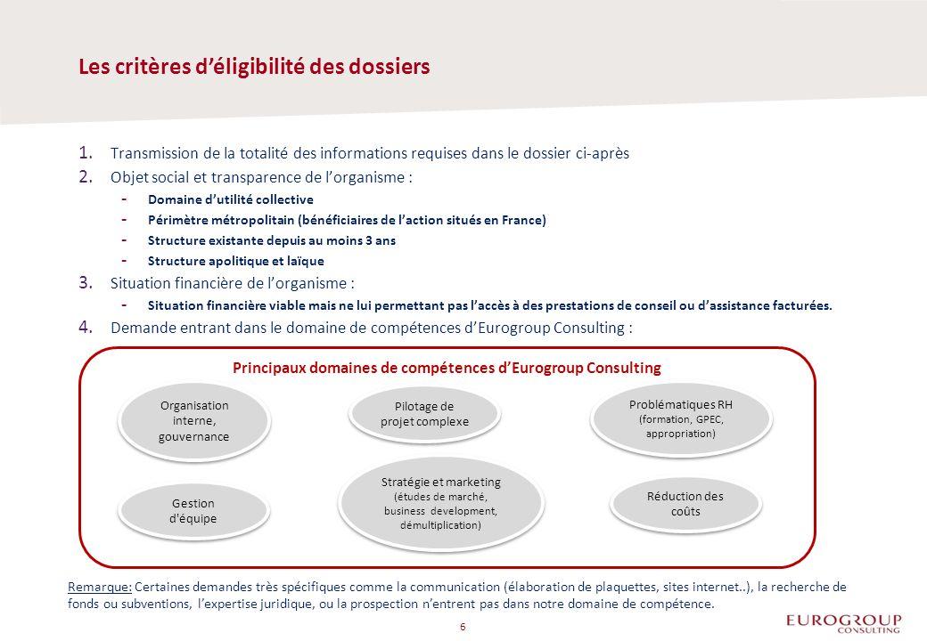Les critères déligibilité des dossiers 1. Transmission de la totalité des informations requises dans le dossier ci-après 2. Objet social et transparen