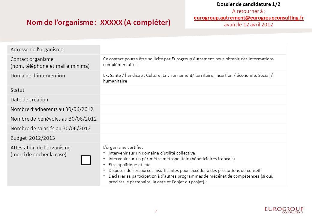 Nom de lorganisme : XXXXX (A compléter) Adresse de lorganisme Contact organisme (nom, téléphone et mail a minima) Ce contact pourra être sollicité par