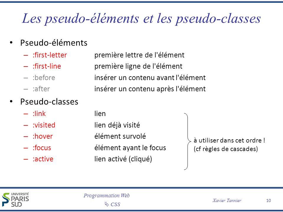 Programmation Web CSS Xavier Tannier Les pseudo-éléments et les pseudo-classes Pseudo-éléments – :first-letterpremière lettre de l'élément – :first-li