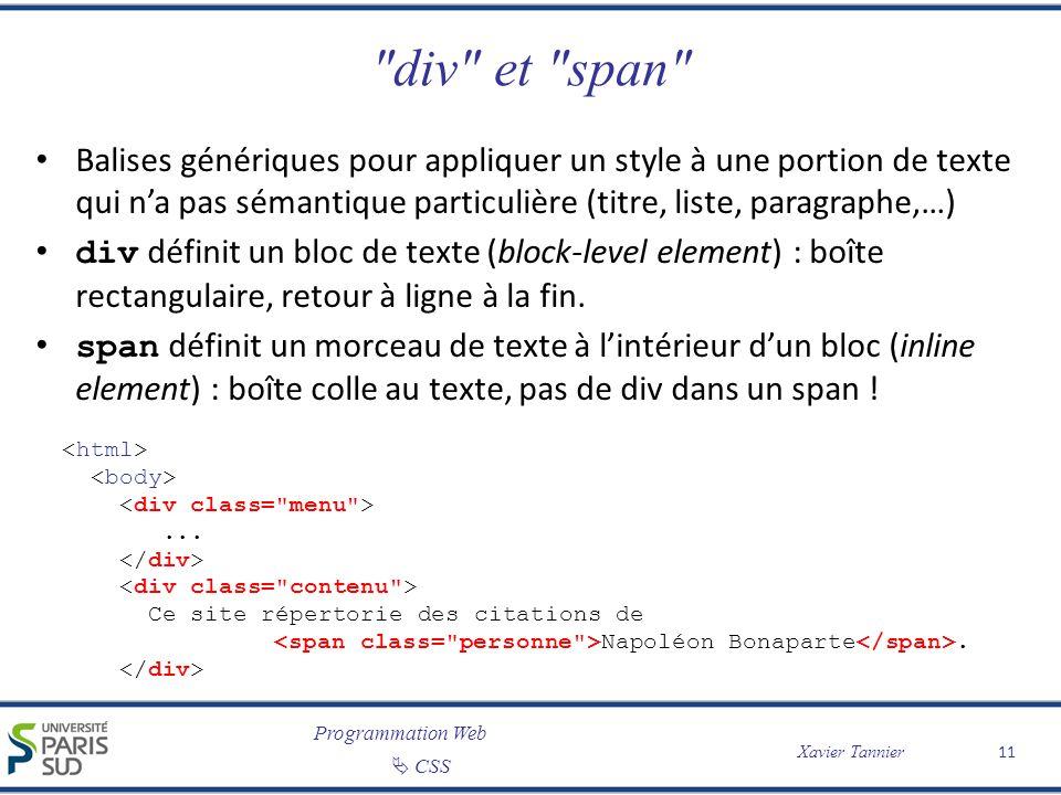 Programmation Web CSS Xavier Tannier
