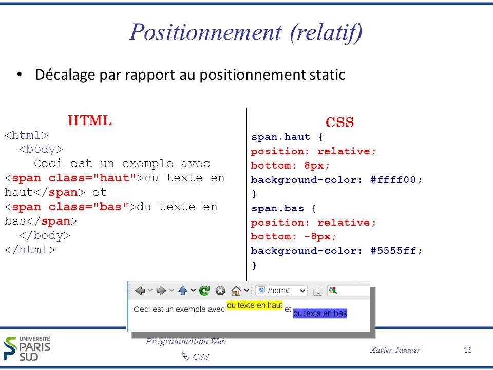 Programmation Web CSS Xavier Tannier Positionnement (relatif) Décalage par rapport au positionnement static 13 Ceci est un exemple avec du texte en ha