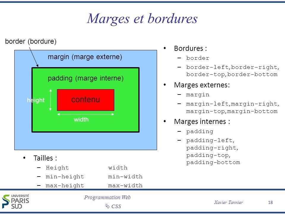 Programmation Web Xavier Tannier CSS Marges et bordures 18 contenu padding (marge interne) margin (marge externe) border (bordure) Bordures : – border