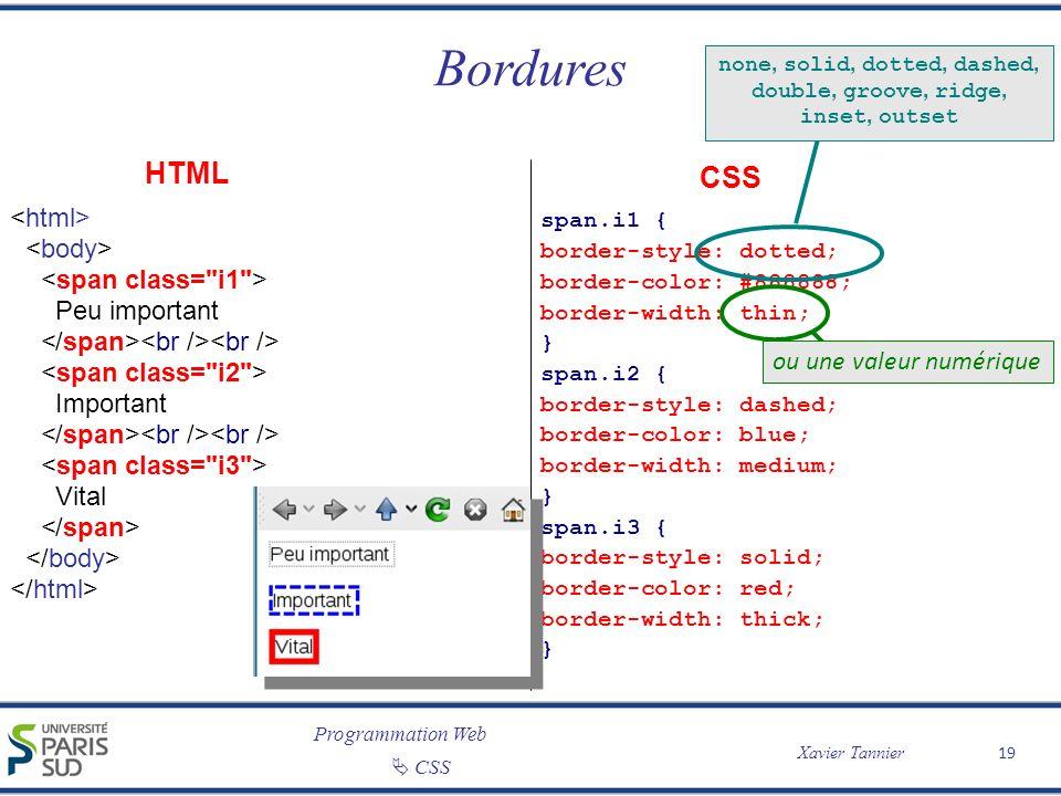 Programmation Web Xavier Tannier CSS Bordures 19 Peu important Important Vital span.i1 { border-style: dotted; border-color: #888888; border-width: th