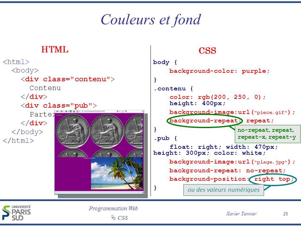 Programmation Web Xavier Tannier CSS Couleurs et fond 25 Contenu Partez au soleil ! body { background-color: purple; }.contenu { color: rgb(200, 250,