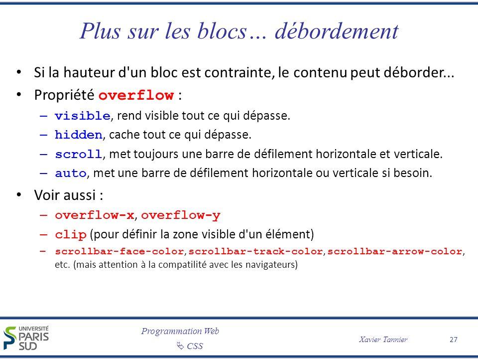 Programmation Web CSS Xavier Tannier Plus sur les blocs… débordement Si la hauteur d'un bloc est contrainte, le contenu peut déborder... Propriété ove