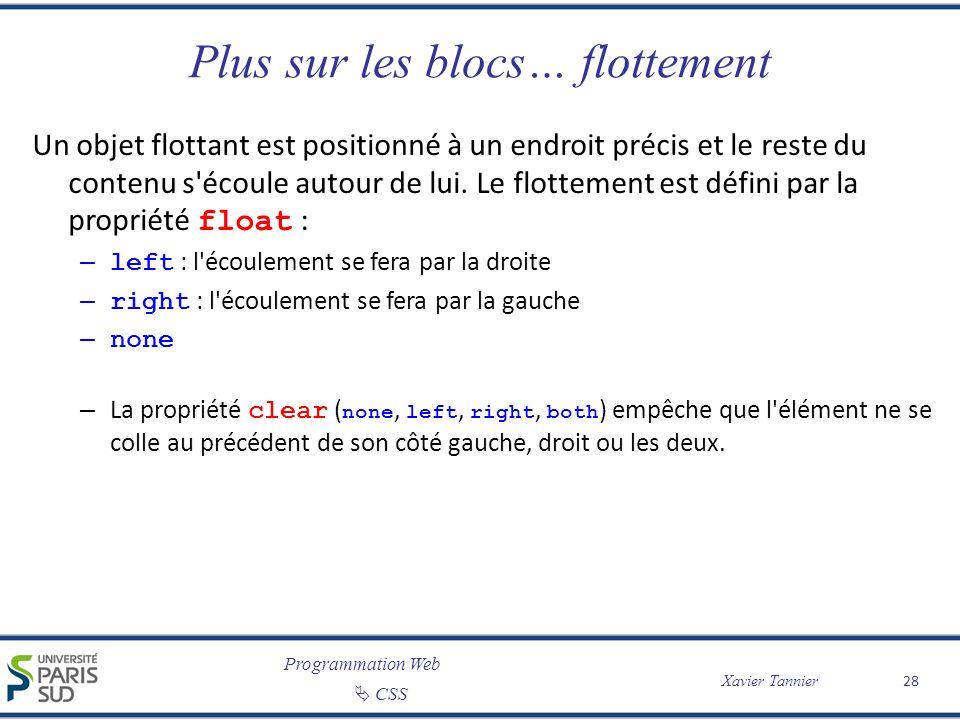 Programmation Web CSS Xavier Tannier Plus sur les blocs… flottement Un objet flottant est positionné à un endroit précis et le reste du contenu s'écou