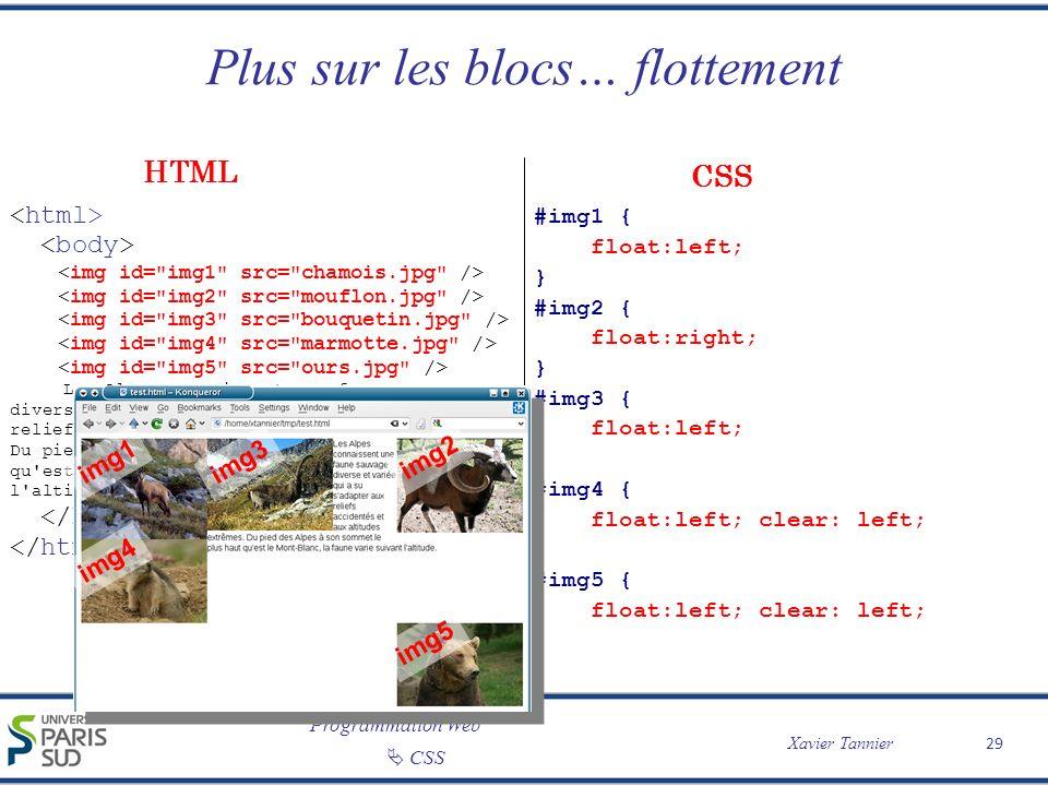 Programmation Web Xavier Tannier CSS Plus sur les blocs… flottement 29 Les Alpes connaissent une faune sauvage diverse et variée qui a su s'adapter au