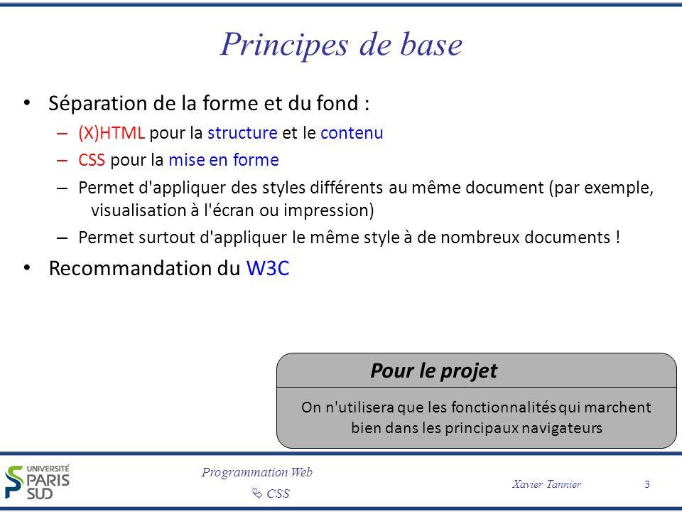 Programmation Web CSS Xavier Tannier Où mettre le code CSS .