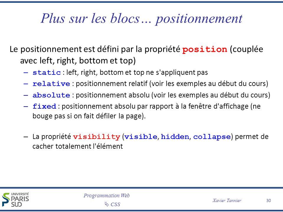 Programmation Web CSS Xavier Tannier Plus sur les blocs… positionnement Le positionnement est défini par la propriété position (couplée avec left, rig