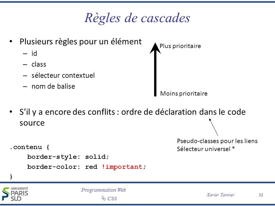 Programmation Web CSS Xavier Tannier Règles de cascades Plusieurs règles pour un élément – id – class – sélecteur contextuel – nom de balise Sil y a e