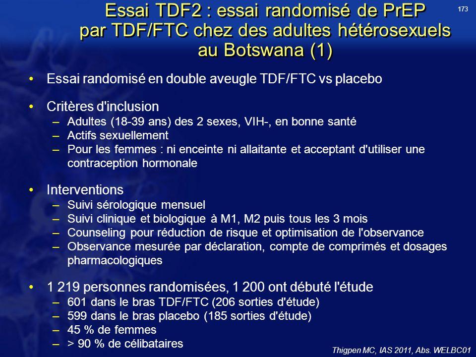 Essai TDF2 : essai randomisé de PrEP par TDF/FTC chez des adultes hétérosexuels au Botswana (1) Essai randomisé en double aveugle TDF/FTC vs placebo Critères d inclusion –Adultes (18-39 ans) des 2 sexes, VIH-, en bonne santé –Actifs sexuellement –Pour les femmes : ni enceinte ni allaitante et acceptant d utiliser une contraception hormonale Interventions –Suivi sérologique mensuel –Suivi clinique et biologique à M1, M2 puis tous les 3 mois –Counseling pour réduction de risque et optimisation de l observance –Observance mesurée par déclaration, compte de comprimés et dosages pharmacologiques 1 219 personnes randomisées, 1 200 ont débuté l étude –601 dans le bras TDF/FTC (206 sorties d étude) –599 dans le bras placebo (185 sorties d étude) –45 % de femmes –> 90 % de célibataires Thigpen MC, IAS 2011, Abs.
