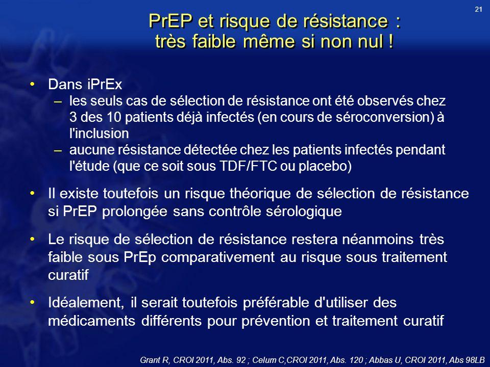 PrEP et risque de résistance : très faible même si non nul ! Dans iPrEx –les seuls cas de sélection de résistance ont été observés chez 3 des 10 patie