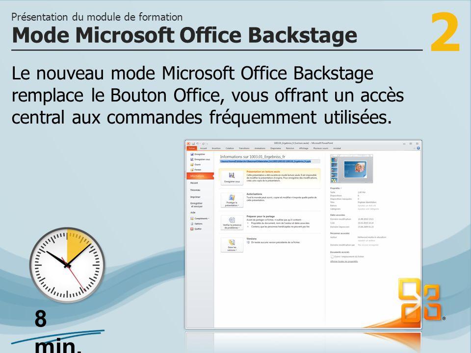 2 Le nouveau mode Microsoft Office Backstage remplace le Bouton Office, vous offrant un accès central aux commandes fréquemment utilisées.