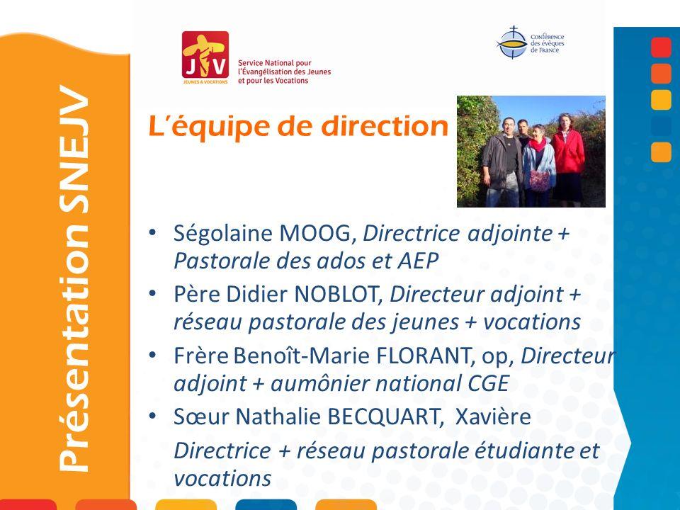 Léquipe de direction Présentation SNEJV Ségolaine MOOG, Directrice adjointe + Pastorale des ados et AEP Père Didier NOBLOT, Directeur adjoint + réseau