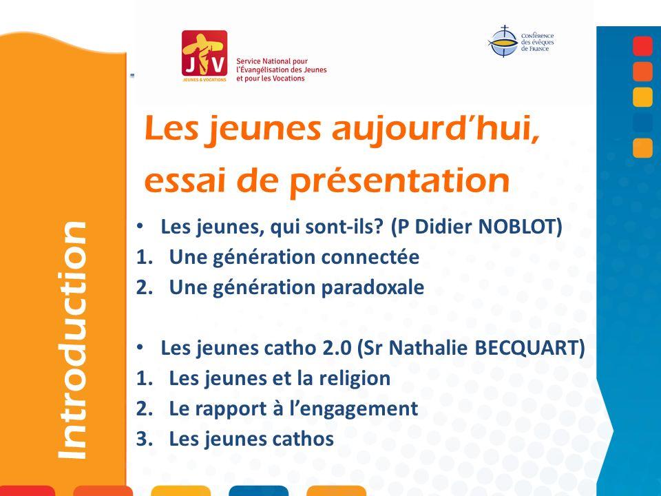 Les jeunes aujourdhui, essai de présentation Introduction Les jeunes, qui sont-ils? (P Didier NOBLOT) 1.Une génération connectée 2.Une génération para