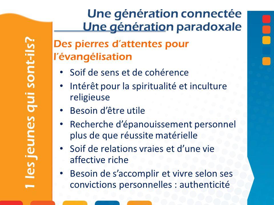 Des pierres dattentes pour lévangélisation 1 les jeunes qui sont-ils? Une génération connectée Une génération paradoxale Soif de sens et de cohérence