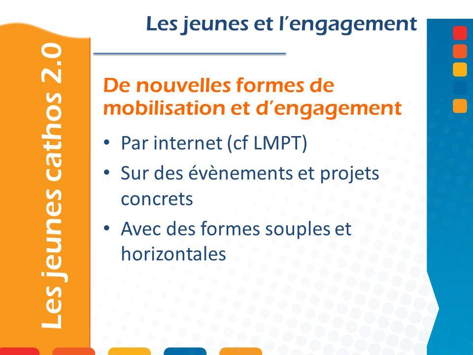 De nouvelles formes de mobilisation et dengagement Les jeunes cathos 2.0 Les jeunes et lengagement Par internet (cf LMPT) Sur des évènements et projet